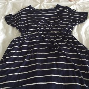 Women's midi navy and white striped dress